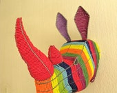 African Beaded Wire Animal Sculpture - RHINO HEAD - Rainbow