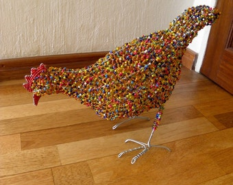 African Beaded Wire Animal Sculpture - CHICKEN LARGE - Orange Multicolored