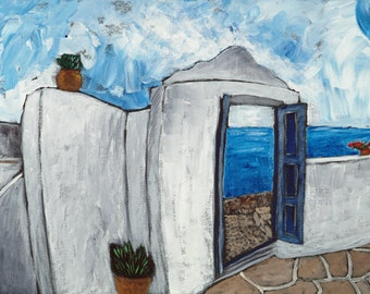 "Kara Asilanis Giclee ""Thru the Door, Movement"" - large limited edition print, Greece, sea, sky"