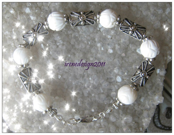 Handmade Silver Bracelet with Carved White Coral by IreneDesign2011