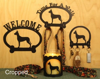 Great Dane Cropped and Un-Cropped  Welcome Sign, Time For A Walk Leash Holder,  Key Rack, and Candle Holder for Yankee Jar Candle types