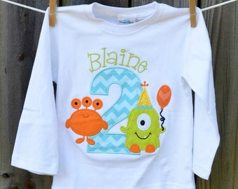 Personalized Birthday Monster Applique Shirt or Onesie Girl or Boy