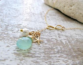 Bridesmaid lariats Aqua lariat Infinity Lariat Aqua quartz gemstone pearl starfish lariat All 14k Gold filled aqua jewelry beach wedding