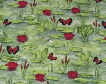 Per yard, Butterfly Pond Fabric From David Textiles