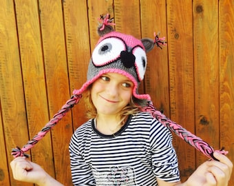 Owl Hat, Crochet Kids Hat, Crochet Owl Hat, Kids Owl Hat, Custom Colors, Crazy Hat, Funny Hat