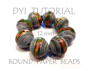 DIY Tutorial how to make round paper beads medium size 12mm perfectly round