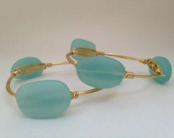 Aqua Green Sea Glass Wire Wrapped Gold Bangle
