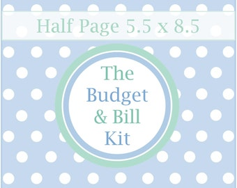 The ESSENTIAL BUDGET & BILL Kit, budget planner, monthly budget, finance printable, bill organizer, pdf, A5, 5.5 x 8.5, Half Page