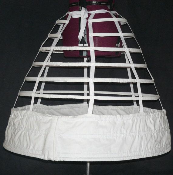 Victorian Hoop Skirt, Petticoat, Underwear Reproduction Civil War Cage Crinoline Period Correct Hoop Skirt Gown 1855 1856 1857 $195.00 AT vintagedancer.com