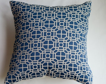 Modern Geometric Decorative Pillow Cover in Blue from Jaclyn Smith Home Collection with Trend Fabrics