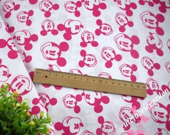Cotton Fabric - 50cm  Animals - Mickey Mouse - Minne Mouse Fabric - Pink and White(50cm x 160cm)
