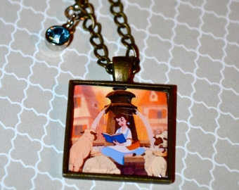 Princess Belle with Books Inspired Necklace
