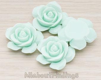 CBC189-MT // Mint Colored Rose Flower Flat Back Cabochon, 2 Pc