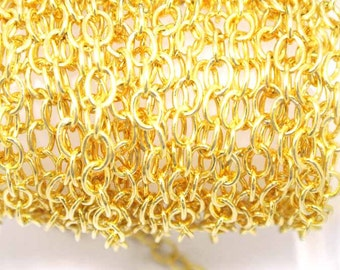 Gold Filled Chain by the Foot - Cable chain, Extension Chain, Chain for making jewelry, 18K gold Filled,  3 Feet
