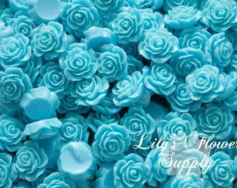 Turquoise Resin Rose Button - Rose Center Piece - Flatback Button - Resin Rose- Pearl Button - Wholesale - You pick colors - 10 Pieces