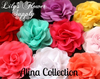 Rose Chiffon Flowers - Choose color - Wholesale Chiffon Beaded Flowers - Rosette Silk Chiffon - Flower for Headbands - Alina Collection