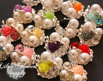 Vintage Rose Rhinestone Button - Rose Rhinestone - Flatback - Set of 4 - Metal Rhinestone - Pearl Button - Wholesale - You pick colors