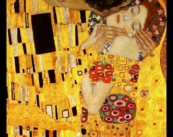 "11x14"" Cotton Canvas Print, The Kiss, Gustav Klimt, Young Lovers, Romance"