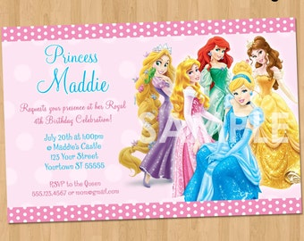 Princess Invitation - Disney Princess Invitation - Birthday Princess Invitation - Printable Princess Invite Birthday Party Disney Princesses