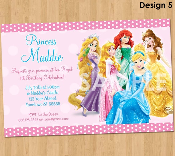 princess invitation disney princess invitation birthday, Birthday invitations
