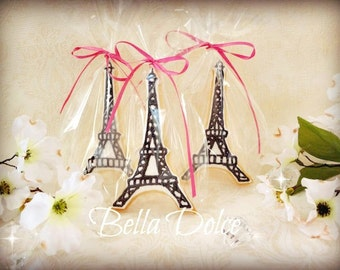 "Fancy ""Ooh La La"" Eiffel Tower Cookies -1 Dozen (12 cookies) Birthday Party - Paris - Wedding Shower Favor"