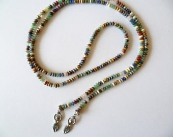 Goddess Lariat Necklace Multi-Colored Agate