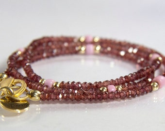 Mimic Necklace - faceted spinel rondels, gold filled rounds and pink african glass beads