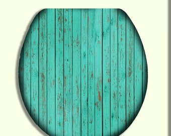 Seafoam Green Reclaimed Wood Toilet Seat Lid