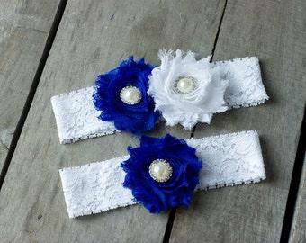 Sapphire Blue and White Wedding Garter, Shabby Chic Garter