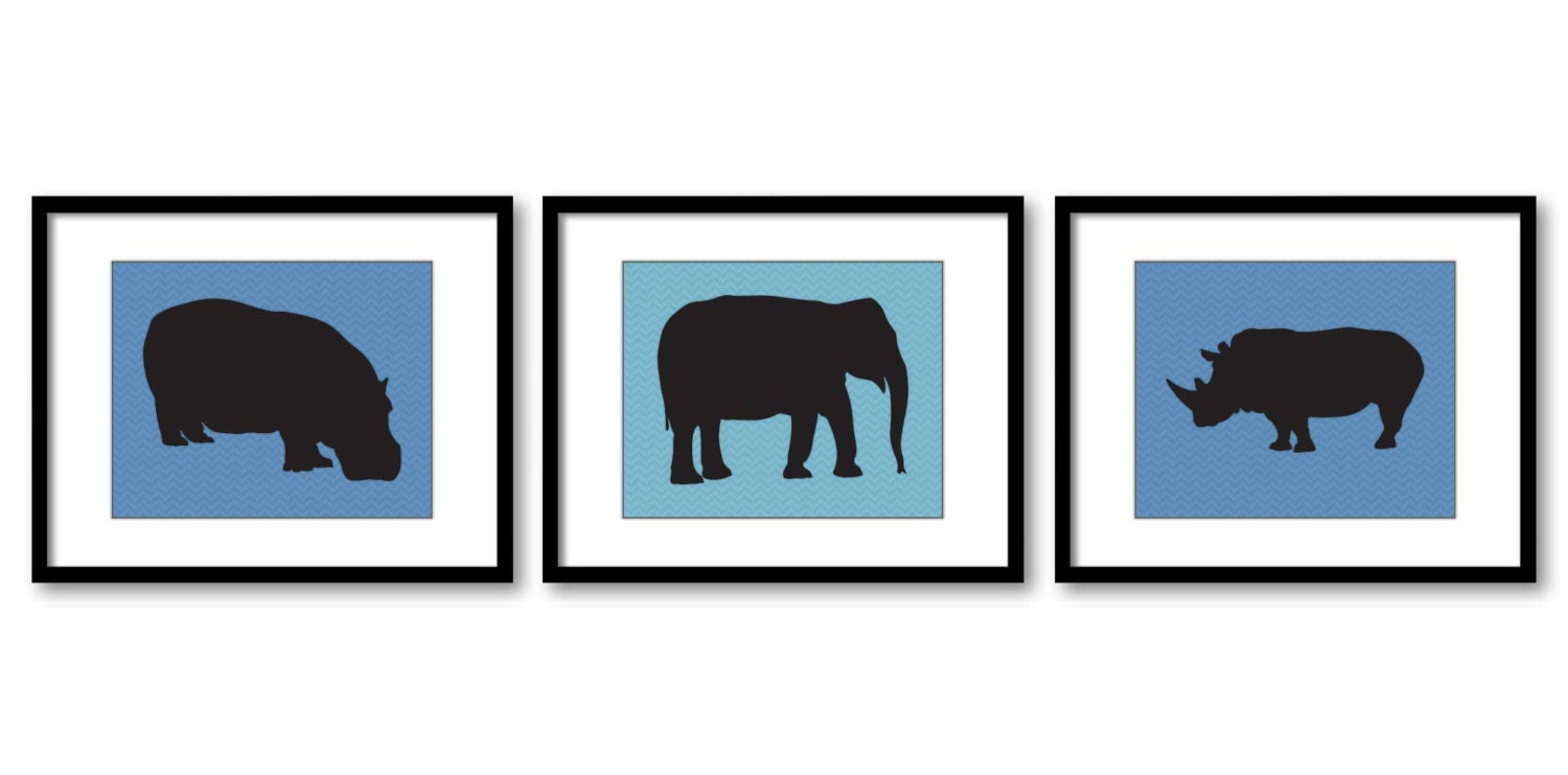 African Safari Animals Art Prints Slate Blue Chevron Set of 3 Hippo Elephant Rhino Boy Art Nursery A