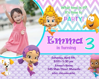 Bubble Guppies Birthday Party Invitation - Digital File