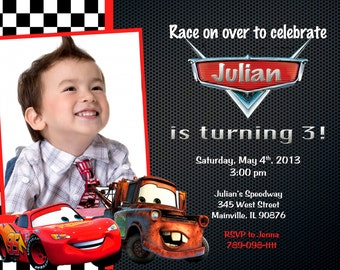 Disney Cars Lightning McQueen Mater Birthday Party Invitation - Digital File
