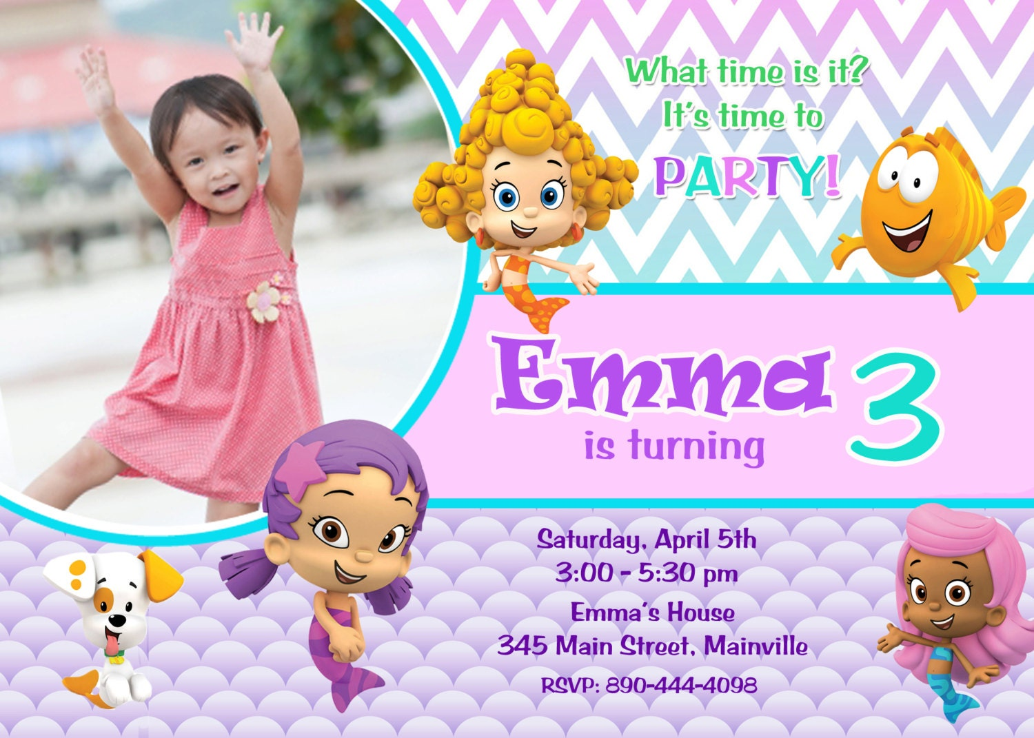 Bubble guppy oona – Bubble Guppies Party Invites