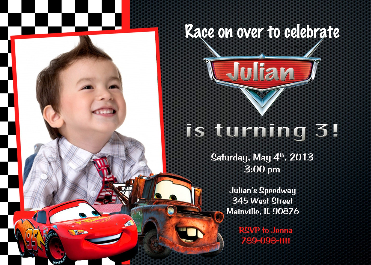 Cars Invitation Card Template Free: Disney Cars Lightning McQueen Mater Birthday Party Invitation