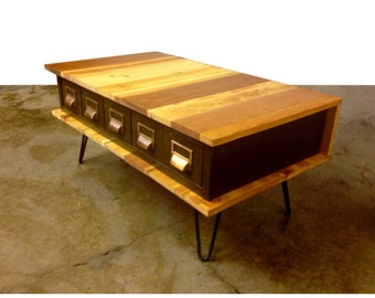 Custom Reclaimed Wood Metal Catalog Drawer Coffee Table