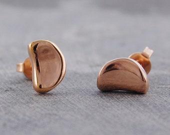 Earrings - Gold Earrings - Stud Earrings - Gold Studs - Simple Earrings - Everyday Earrings - Rose Gold Earrings - Tiny Stud Earrings - Bean