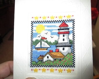Lighthouse Cross-Stitch Card