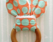 Bunny Ear Teething Ring For Baby/Fabric and Wooden Teething Ring with Crinkle Material Inside/Sensory Toy