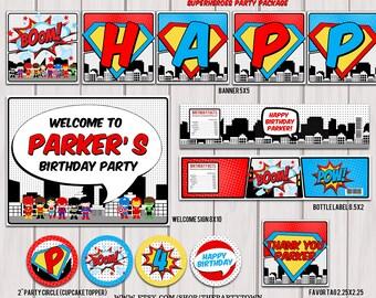 Superheroes Pop Art Superhero Birthday Party Package / Superhero personalize printable pack PDF
