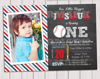 Baseball invitation 1st birthday, Birthday Party Invitation, DIY Party Printables, First Birthday, Invite Card, Personalized Printable pdf