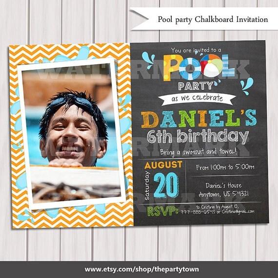 First Birthday Party Invitation Boy Chalkboard: Splish Splash Pool Boy Chalkboard Birthday Party