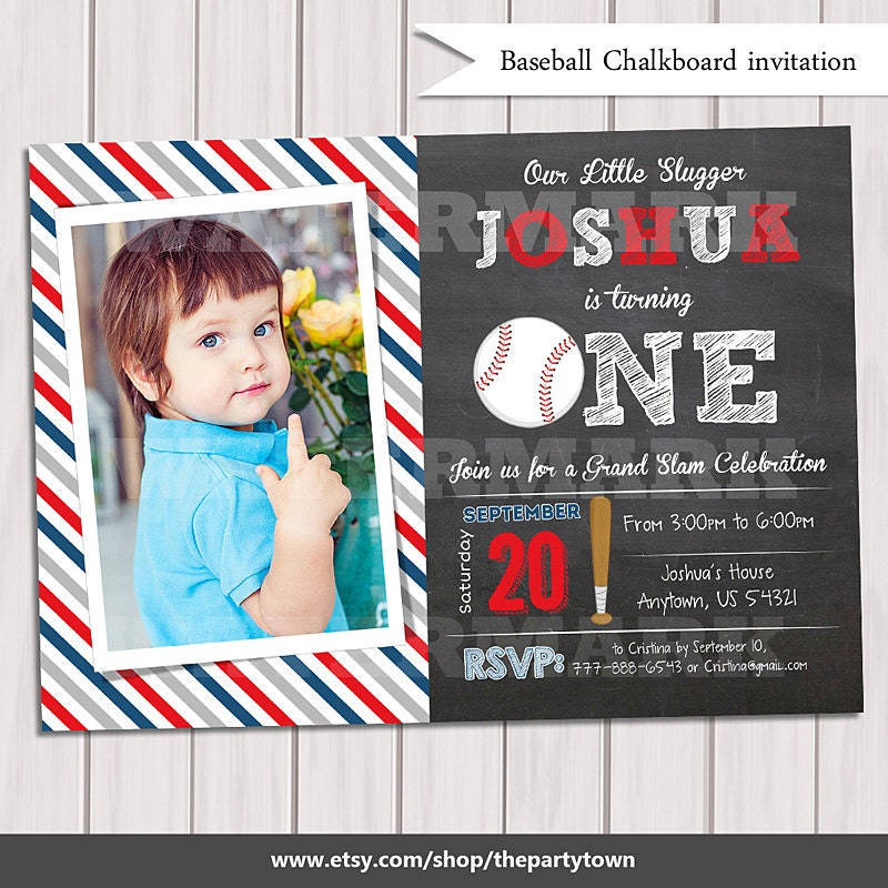 Baseball Invitation 1st Birthday Birthday Party Invitation