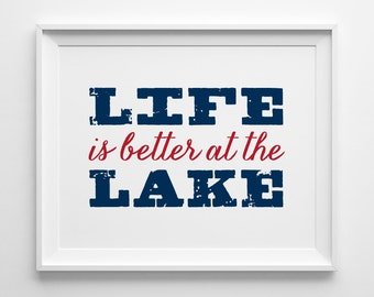 Life is Better at the Lake, Nautical Decor, Cottage Decor, Lake House Art, Summer Decor, Navy Red and White Decor, Cottage Hostess Gift