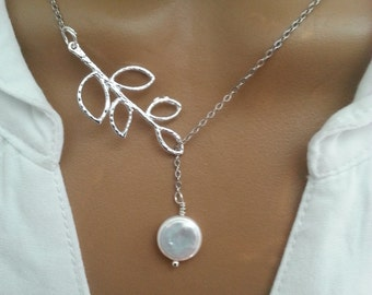 Freshwater Coin Pearl Lariat Necklace