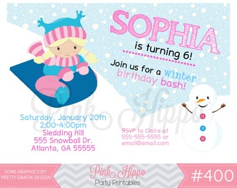 Sledding, Snow, Winter, Snowball Girl:400-Children's Birthday Invitation, Personalized, Digital, Printable, JPEG
