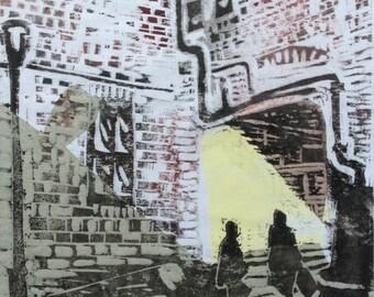 Original art. Handmade woodcut and chine collé print of Elvet Bridge, Durham