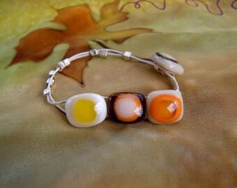 Multicolored fused glass bracelet