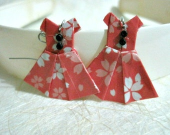 Origami Jewelry - Paper Dress Earrings - Paper Anniversary - Paper Jewelry - Origami Earrings - WY05