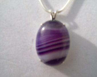 Striped Purple Agate Pendant in Sterling Silver - 30x22 mm