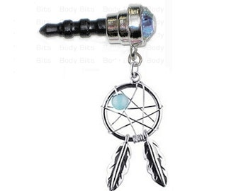 Cute DREAM CATCHER Aqua Blue Gem and Bead Cell Phone Dust Plug Charm for iPhone Android Mobile